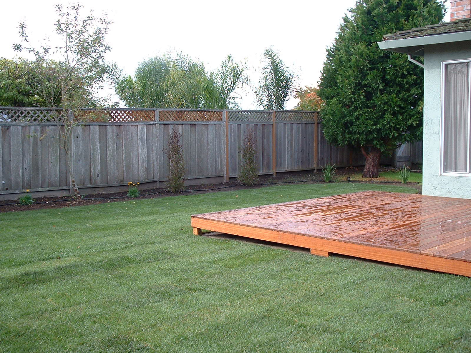 47 deck and fenced backyard gate behind the tree opens to a
